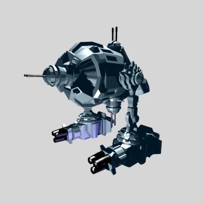 3d model robotic gunship