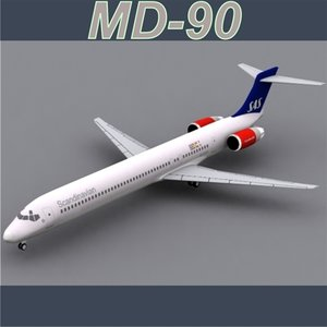 3d md-90 scandinavian airlines model