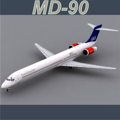 3d md-90 scandinavian airlines model