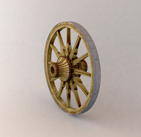 3d model old wooden wagon wheel