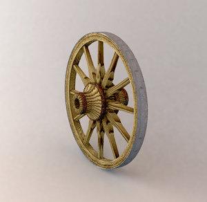 3d model old wooden wagon wheel