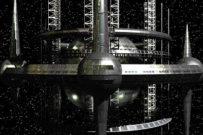 futuristic space station 3d model