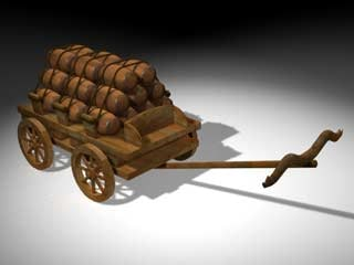cart loaded barrels 3d model