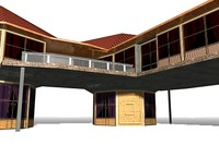 beach houses 3d model