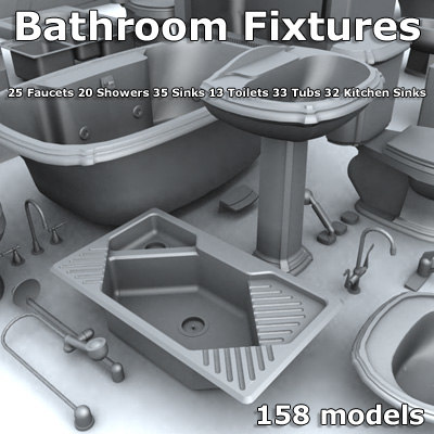 toilets tubs showers 3d model