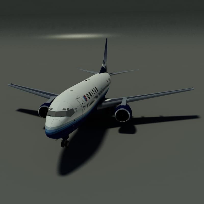 3d b 737-300 united airlines model