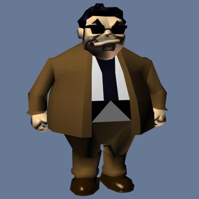 gangster cartoon 3d model