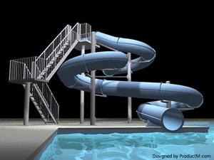 3d pool water slide