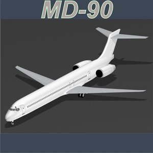 commercial airplane md-90 3d model