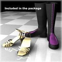 3d shoes female body model