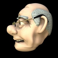 cartoon old man head 3ds