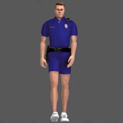 human cop male 3d model