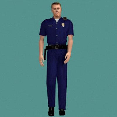 human cop police 3d model