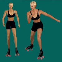 3ds human skate woman
