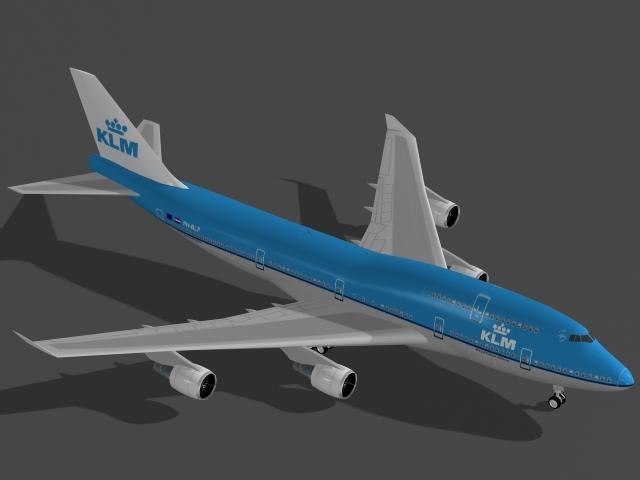b 747-400 klm 3d max