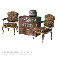 3d chair fateuil chest model