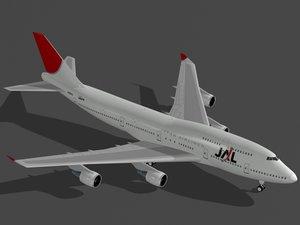 b 747-400 japan airlines 3d model
