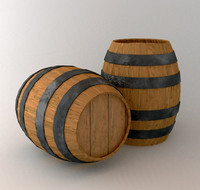 old wooden wine barrel 3d lwo