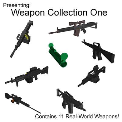 3d weapons machine gun rifle model