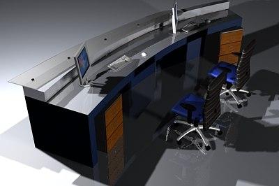 office reception desk 3d model