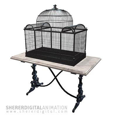 table birdcage 3d model