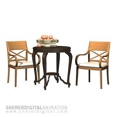 chair table oranges 3d max