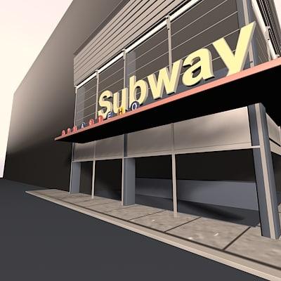 3d subway urban square model