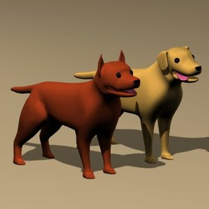 3d model character studio dogs rigged