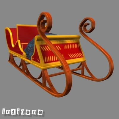 traineau father christmas 3d model