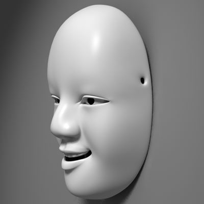 3d model of ese noh masks ko-omote