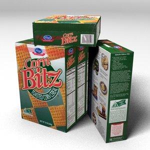 3d corn bitz cereal box model