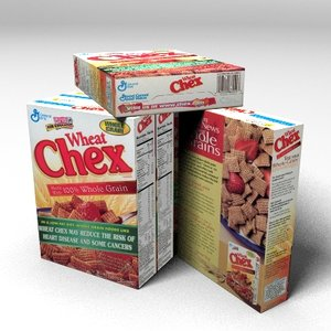 3d wheat chex cereal box