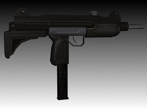 3ds max uzi submachine gun