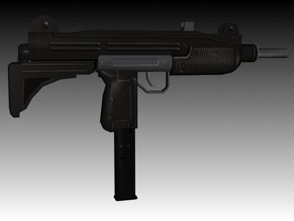 3ds max uzi submachine gun