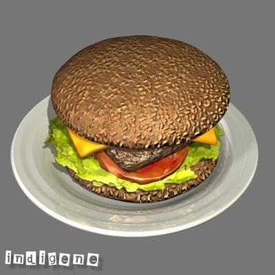 hamburger 3d max