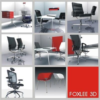 3d chairs desk eames