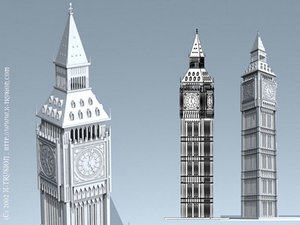 3ds max london building clock
