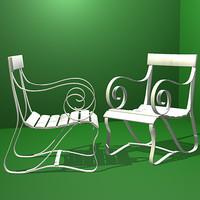 3d model victorian chair seat garden furniture