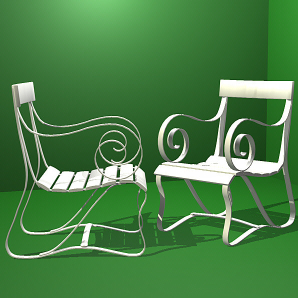 3d model victorian chair seat garden furniture