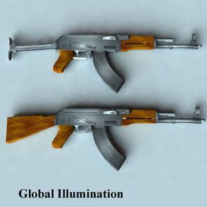 3d ak-47 aks-47 guns model