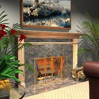 wood fireplace home 3d model