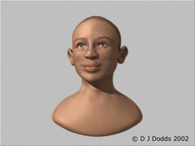 bust child face head 3d model