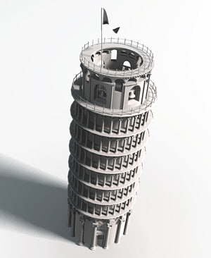 3d model leaning tower
