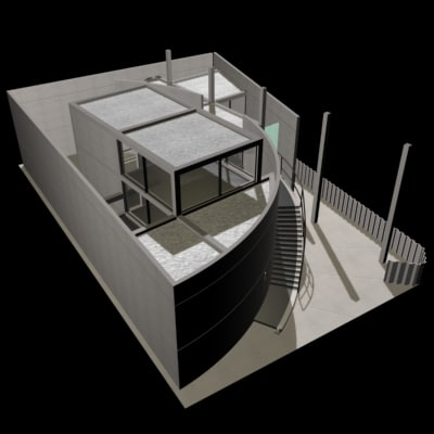 tadao ando house 3d model_D