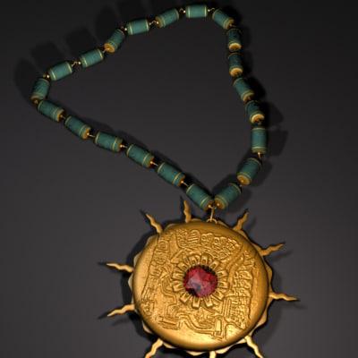 mayan amulet necklace 3d model