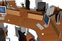 3d model office workstation clusters