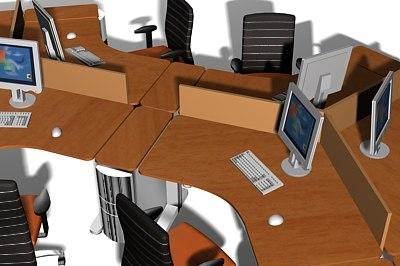 3d model office workstation clusters