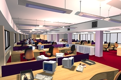 office interior scene 3d model
