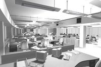 3ds max office interior scene