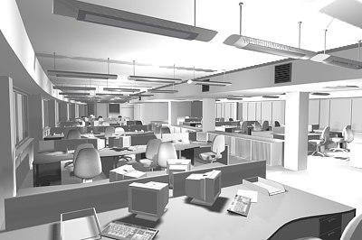 3ds max office interior scene